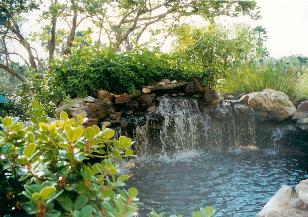 custom koi pond and waterfall