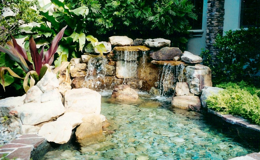 custom water feature and waterfall